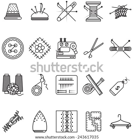 Black line icons vector collection for sewing or handmade. Set of black line design vector  icons for sewing tools or items for handmade on white background. - stock vector
