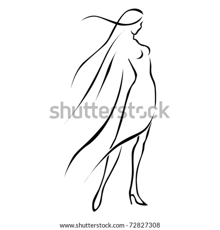 black line woman in wind - stock vector