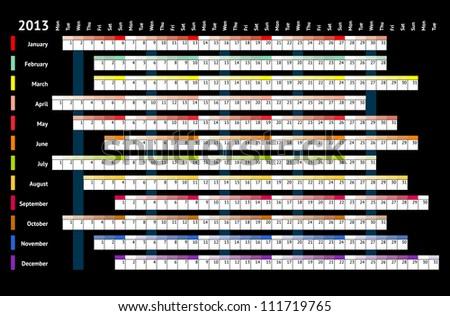 Black linear calendar 2013 - stock vector