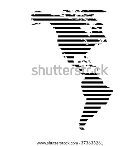 Black linear symbol of north and south America map on white, vector illustration.