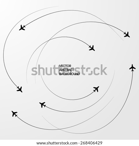 Black lines. Roundabout Circulation. The Sky. airplanes. Gray background - stock vector