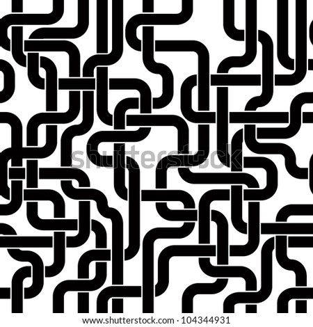 Black lines seamless pattern, tangled stripes vector background for conceptual design projects. - stock vector