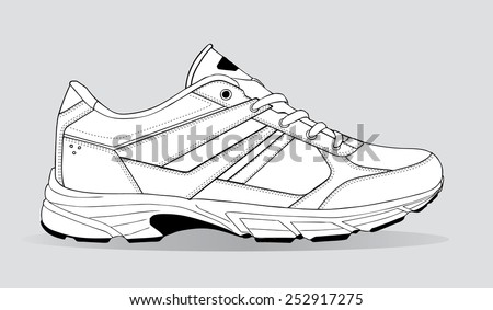 black lines sneaker - stock vector