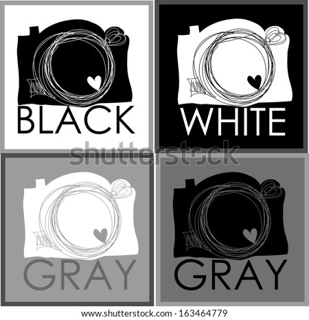 black link hand drawn doodle 4 digital camera illustration set with love heart clipart, black white gray four versions - stock vector