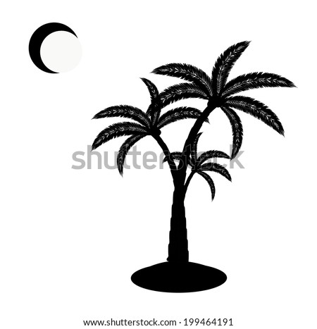 black little sanding island with palm tree and moon isolated on white, vector illustration - stock vector