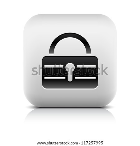 Black lock icon web sign. Series of buttons in a stone style. White rounded square shape with black shadow and gray reflection on white background. Vector illustration clip-art design element in 8 eps - stock vector