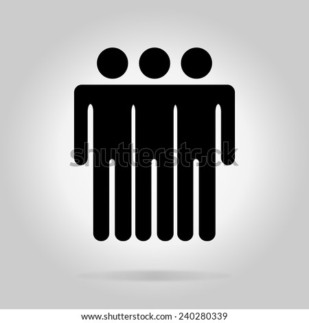 Black logotype three men. Simple silhouette information sign with gray drop shadow - stock vector