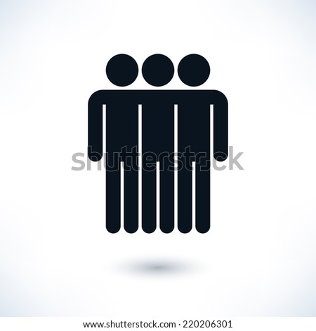 Black logotype three men. Simple silhouette information sign with gray drop shadow isolated on white background in flat style. Graphic clip-art design elements in vector illustration 8 eps - stock vector
