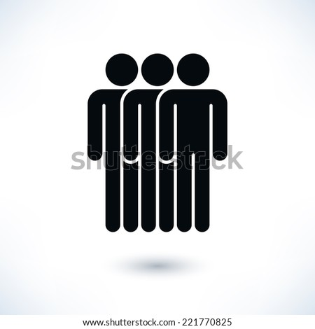 Black logotype three people (man figure) in flat style. Simple silhouette information sign with gray drop shadow isolated on white background. Graphic design elements in vector illustration 8 eps - stock vector