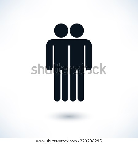 Black logotype two men. Simple silhouette information sign with gray drop shadow isolated on white background in flat style. Graphic clip-art design elements in vector illustration 8 eps - stock vector