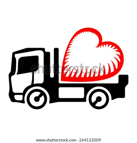 Black lorry deliver stylized red heart - stock vector