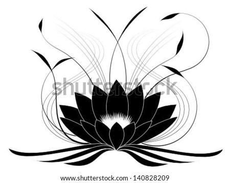 Black lotus - stock vector