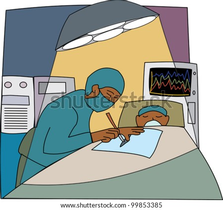 Black male doctor performing surgery in an operating theater - stock vector