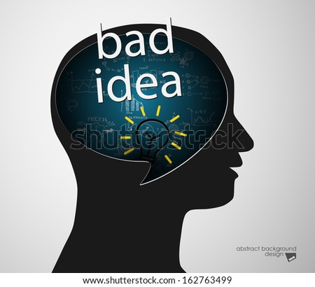 Black man head silhouette and lettering of bad idea