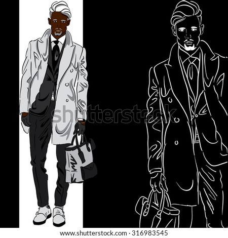 black man in fashionable clothes , coats, pants, shoes