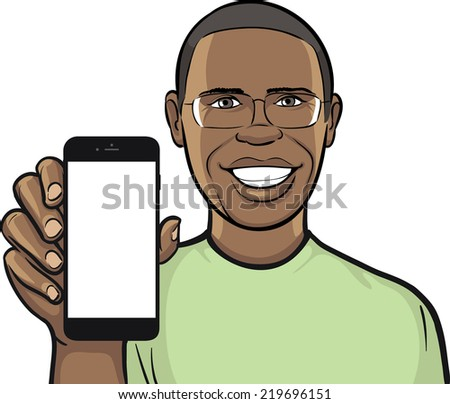 black man in glasses showing a mobile app on a smart phone - stock vector