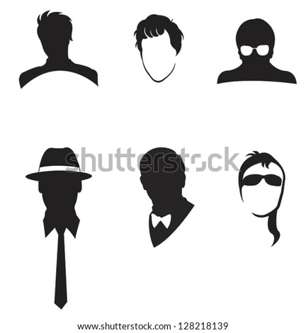 Black man's facial and fashion collection set, create by vector - stock vector