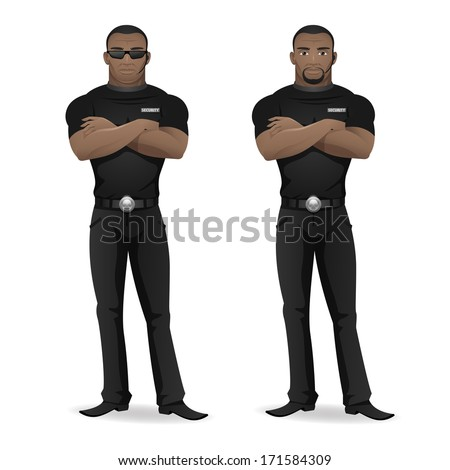 Black man security guard of nightclub - stock vector