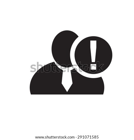 Black man silhouette icon with exclamation mark in an information circle, flat design icon for forums or web - stock vector