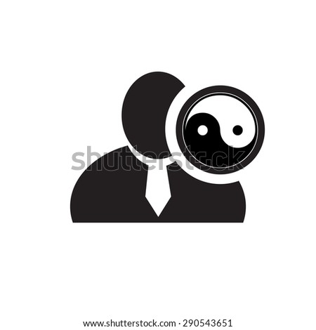 Black man silhouette icon with yin yang symbol in an information circle, flat design icon for forums or web - stock vector