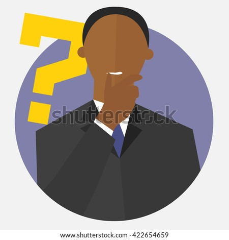 """Black man with a question mark. Person doubts. """"I don't know"""" expression. Making decision sign. Flat design. Vector illustration - stock vector"""