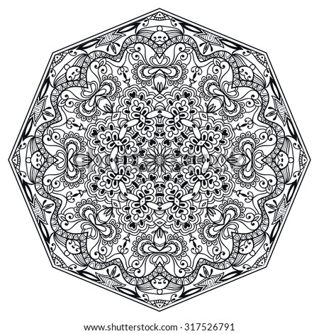 Black Mandala geometric round ornament, tribal ethnic arabic Indian motif, eight pointed circular abstract floral pattern. Hand drawn decorative vector design element  - stock vector