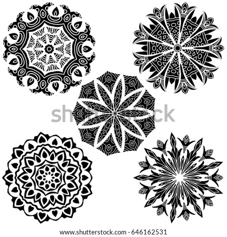 Black mandala ornament collection over white background