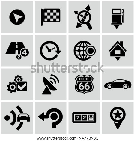 Black map and navigation icons set. All white shapes and strokes are cut from the icons. - stock vector