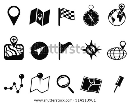 black map icons set - stock vector