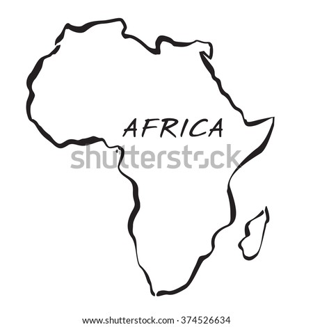 Black Map Of Africa. Vector Illustration