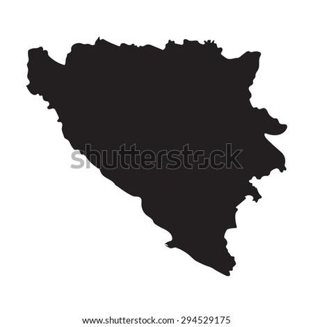 black map of Bosnia and Herzegovina - stock vector