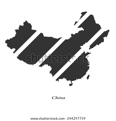 Black map of China for your design, concept Illustration. - stock vector
