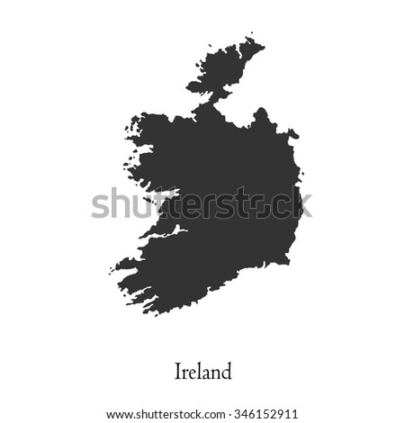 Black map of Ireland for your design, concept Illustration. - stock vector