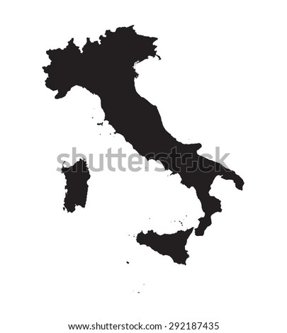 black map of Italy - stock vector