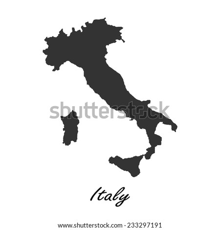 Black map of Italy for your design, concept Illustration. - stock vector