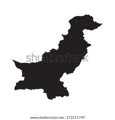 black map of Pakistan - stock vector