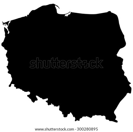 Black map of Poland isolated on white background - stock vector
