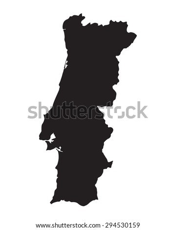 black map of Portugal - stock vector