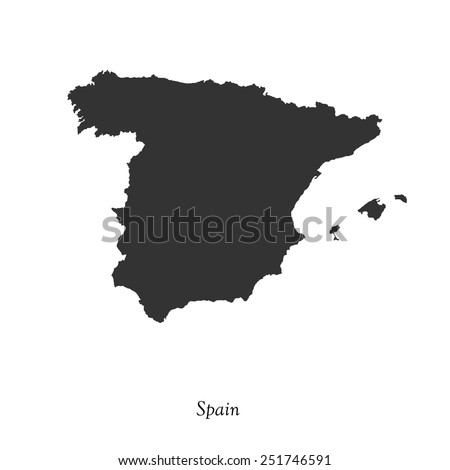 Black map of Spain for your design, concept Illustration. - stock vector