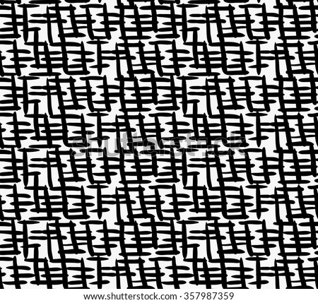 Black marker thick crossing hatches.Free hand drawn with ink brush seamless background. Abstract texture. Modern irregular tilable design. - stock vector
