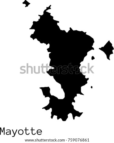Black Mayotte Map Vector Silhouette Stock Photo Photo Vector