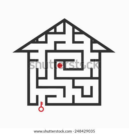 Black maze on a white background - stock vector