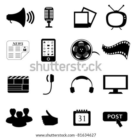 Black media or multimedia icon set - stock vector