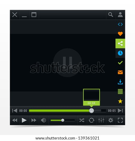 Black media player ui interface with video loading bar and additional movie buttons with drop shadow. Variation 03 (green). Modern classic dark style skin. Vector illustration design element 10 eps - stock vector