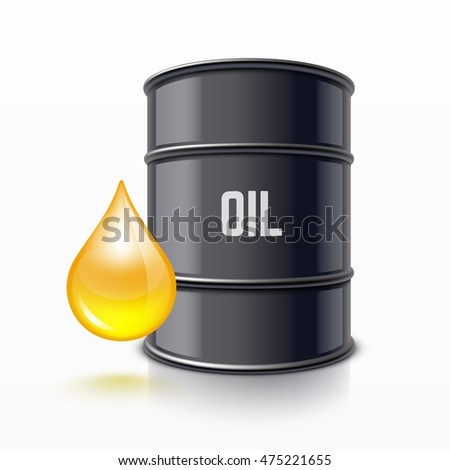 Black metal barrel and drop oil
