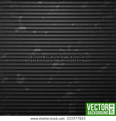 Black metal shutter stripe background. Retro pattern - stock vector