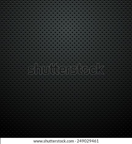 Black Metallic Perforated Plate Texture Background - stock vector