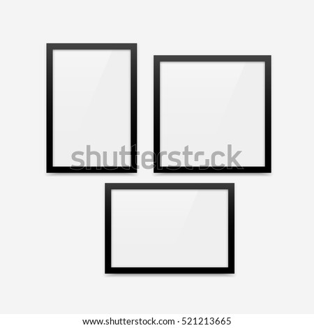 Black minimalistic vector photo frame blank mockups set. Vertical frame with portrait orientation (2x3), horizontal frame with landscape orientation (3x2) and square photo frame.