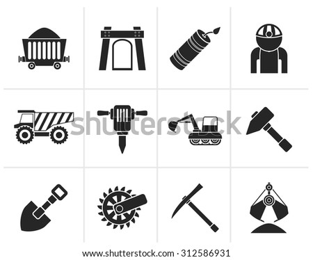 Black Mining and quarrying industry objects and icons - vector icon set - stock vector