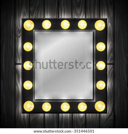 Vanity mirror lights stock images royalty free images vectors black mirror light bulbs dressing room wooden background vector aloadofball Image collections